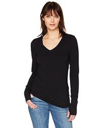 Michael Stars - Cotton Lycra Long Sleeve V-neck With Thumbholes - Lyst
