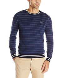 Lacoste - Long-sleeve Chine-stripe Crew-neck Sweater - Lyst