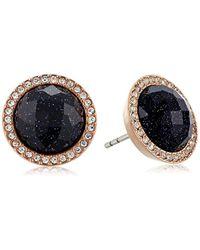 Fossil - Shimmer Glass Stone Studs Earrings - Lyst