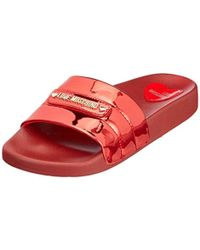 Love Moschino - Womens Quilted Slides Red - Lyst
