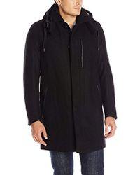 Marc New York - Boulevard Twill Wool Coat With Hood - Lyst