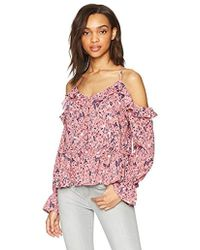 William Rast - Wolfe Ruffle Cold Shoulder Peasant Top - Lyst