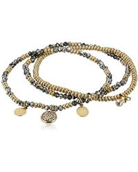 Kenneth Cole - Mixed Black Diamond Faceted Bead Stretch Bracelet - Lyst