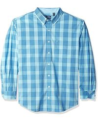 Izod - Big And Tall Essential Plaid Long Sleeve Shirt - Lyst