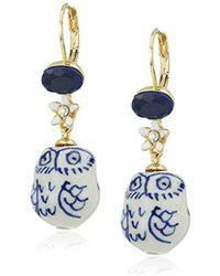 Betsey Johnson - Betsey Blues Ceramic Owl Drop Earring - Lyst