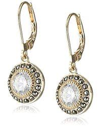 Judith Jack - Golden Class Sterling Silver Yellow Gold-tone Marcasite Cubic-zirconia Drop Earrings - Lyst