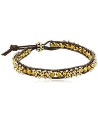 Miguel Ases - Cross Stitch 3d Brown Leather Slip-knot Bracelet - Lyst