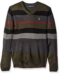 U.S. POLO ASSN. - . Multi Stripe V-neck Sweater - Lyst