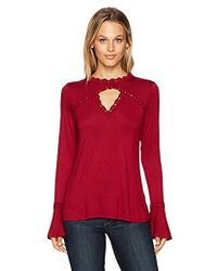Adrianna Papell - Crew Neck With Lace Detail Modified Bell Long Sleeve - Lyst