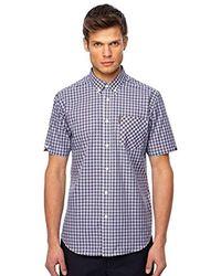 Ben Sherman Short Sleeve Tartan Print Shirt 0049964 - Blue