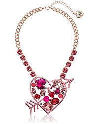 Betsey Johnson - S Pink Heart Pendant Necklace - Lyst