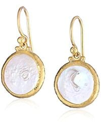 Gurhan - Lentil Gold Coin Pearl Hook Drop Earrings - Lyst