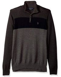 U.S. POLO ASSN. - Color Block 1/4 Zip With Microsherpa - Lyst