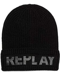 Replay - Am4161.000.a7026d Beanie, (black 98), One Size - Lyst