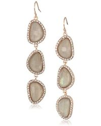 T Tahari - Mystic Sands Grey Crystal Stone Drop Linear Earrings, Rose Gold, One Size - Lyst
