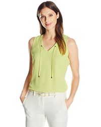 Kasper - V Neck Cdc Cami With Grommet Tie (2) - Lyst