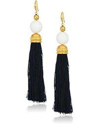Trina Turk - White/navy Beads In Bloom Tassel Drop Earrings - Lyst