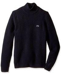 Lacoste - Long Sleeve Crewneck Knit Effect Wool Sweater, Ah8987-51 - Lyst