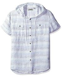 Kenneth Cole Reaction - Short Sleeve Hood Horizontal Stripe Woven Shirt - Lyst
