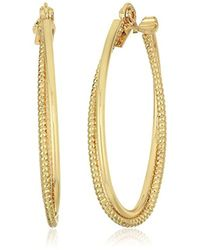 Anne Klein - Gold Tone Large Textured Hoop Clip On Earrings - Lyst
