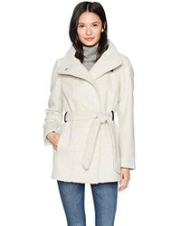 Cole Haan - Faux Striccato Wool Funnel Collar Belted Coat - Lyst