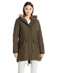 Levi's - Arctic Cloth Full Length Pile Lined Parka With Faux Fur Trimmed Hood - Lyst