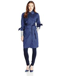Eliza J - Outerwear Denim Sateen Trench Coat - Lyst