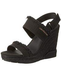 Calvin Klein - Lael Fringe Canvas Peeptoe Court Shoes - Lyst