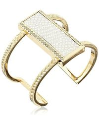 Cole Haan - Leather Wrapped Rectangle T Bar Cuff Bracelet - Lyst