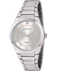 Ellen Tracy - Quartz Metal And Alloy Casual Watch, Color:silver-toned (model: Et5293sl) - Lyst