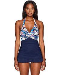 2529f339aebf0 Lyst - DKNY Halter Shirred One Piece Swimdress in Blue