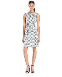 Anne Klein - Pritned Cotton Fit And Flare Dress With Self Sash - Lyst