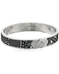 Cole Haan - Leather Inlay Silver Thin Hinge Bangle Bracelet - Lyst