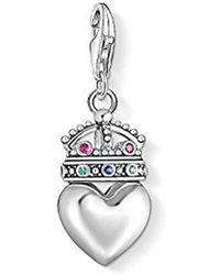 Thomas Sabo - Damen Charm-Anhänger Herz mit Krone 925er Sterlingsilber, Geschwärzt 1544-498-7 - Lyst