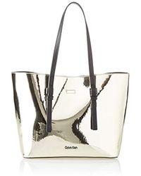 Calvin Klein Ck Zone Medium Shopper Metalic, Cabas femme, Or (Light Gold)