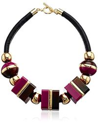 "Trina Turk - Mulholland Mod Oversized Cubes Leather Collar Necklace, 18"" - Lyst"