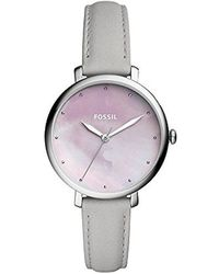 Fossil - Jacqueline Three-hand Mineral Gray Leather Watch - Lyst