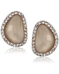 T Tahari - Mystic Sands Framed Stone Stud Earrings, Rose Gold, One Size - Lyst