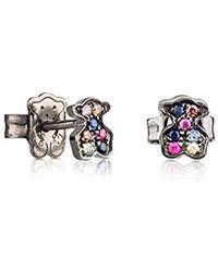 2c150f6e2f16 Tous - Pendientes de mujer Fantasy en plata de primera ley pavonada y  zafiros multicolor -