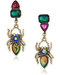 Betsey Johnson - Halloween Mismatched Stone Spider Drop Earrings - Lyst