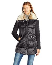 French Connection - Mixed Media Down Coat With Faux Fur Collar - Lyst