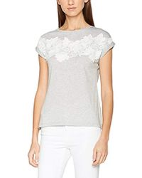 Dorothy Perkins - Grey Marl Lace Front Tee T-shirt - Lyst