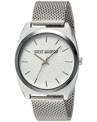 Steve Madden - Quartz And Alloy Casual Watch, Color:silver-toned (model: Smw013) - Lyst