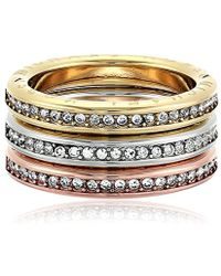 Michael Kors - S Tri-tone And Pave Logo Grommet Stack Ring Set - Lyst