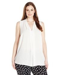 Vince Camuto - Plus Size Short Sleeve V Blouse With Inverted Front Pleat - Lyst