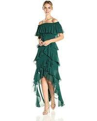Badgley Mischka - Off The Shoulder Ruffle Gown - Lyst