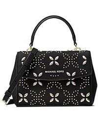 b5b15b8f9593 Lyst - MICHAEL Michael Kors Ava Stud Small Satchel Bag in Black
