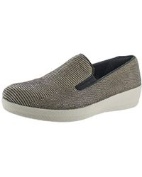 Fitflop - Superskate Lizard-print Suede Loafers Flat - Lyst