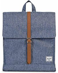 Herschel Supply Co. - City Mid-volume, Dark Chambray Crosshatch/tan Synthetic Leather - Lyst