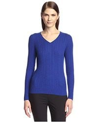 SOCIETY NEW YORK - Cable V-neck Sweater - Lyst